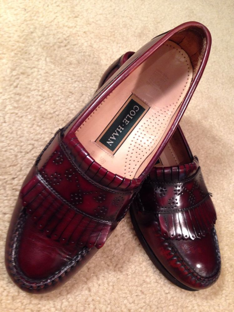 Cole Haan Dark Brown Burgundy Tassle Loafer Leather Dress Shoes Men's 9 D