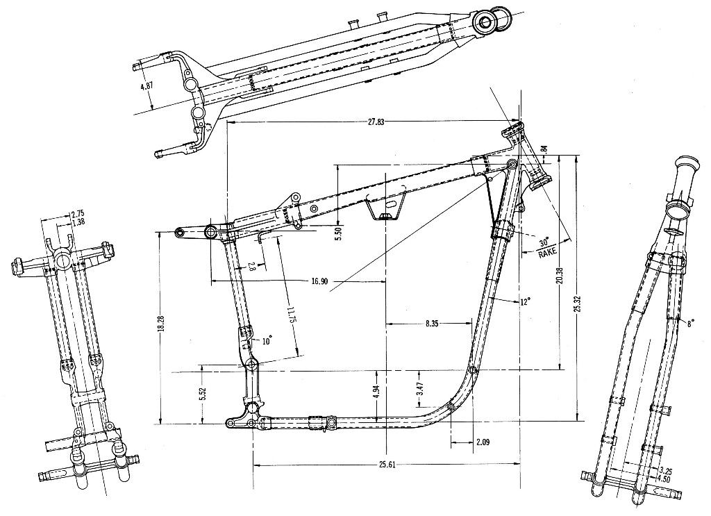 Sportster Ironhead frame dimensions