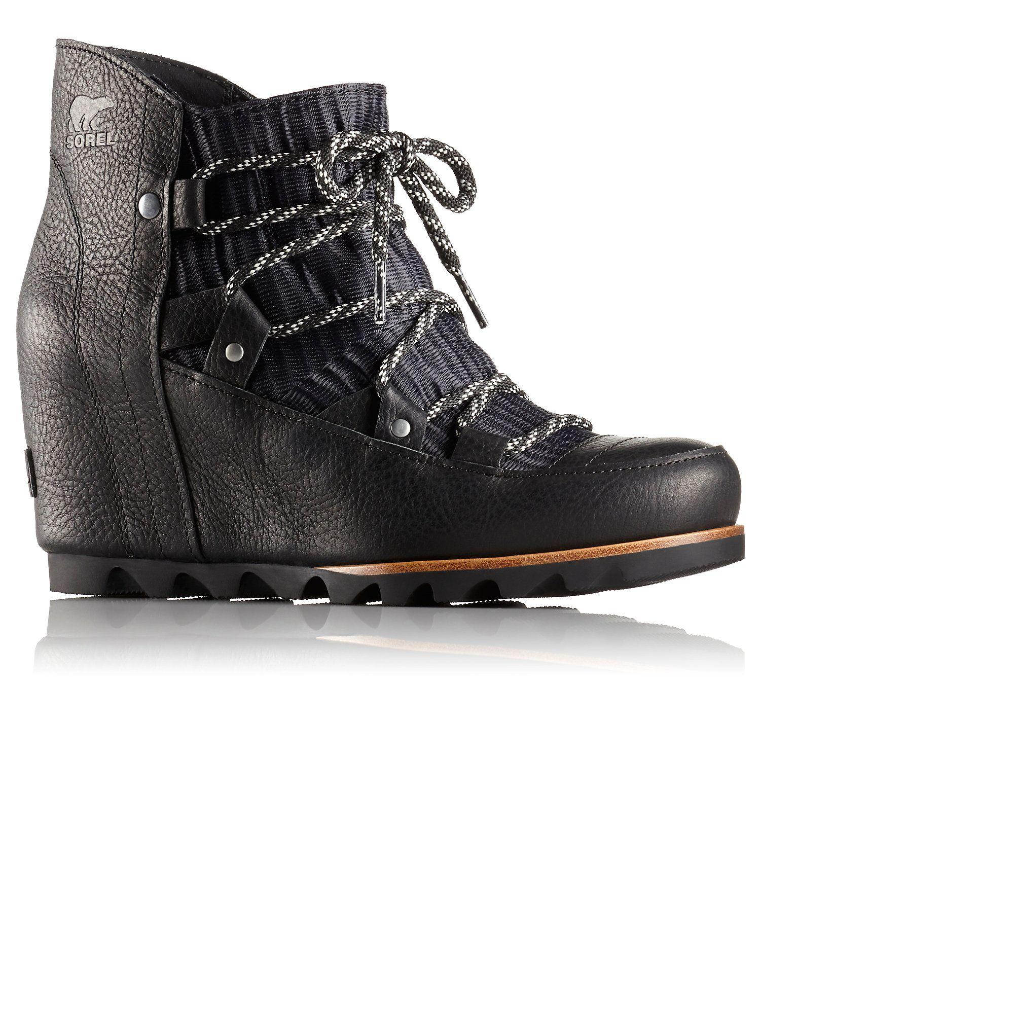 sorel sandy wedge boot black
