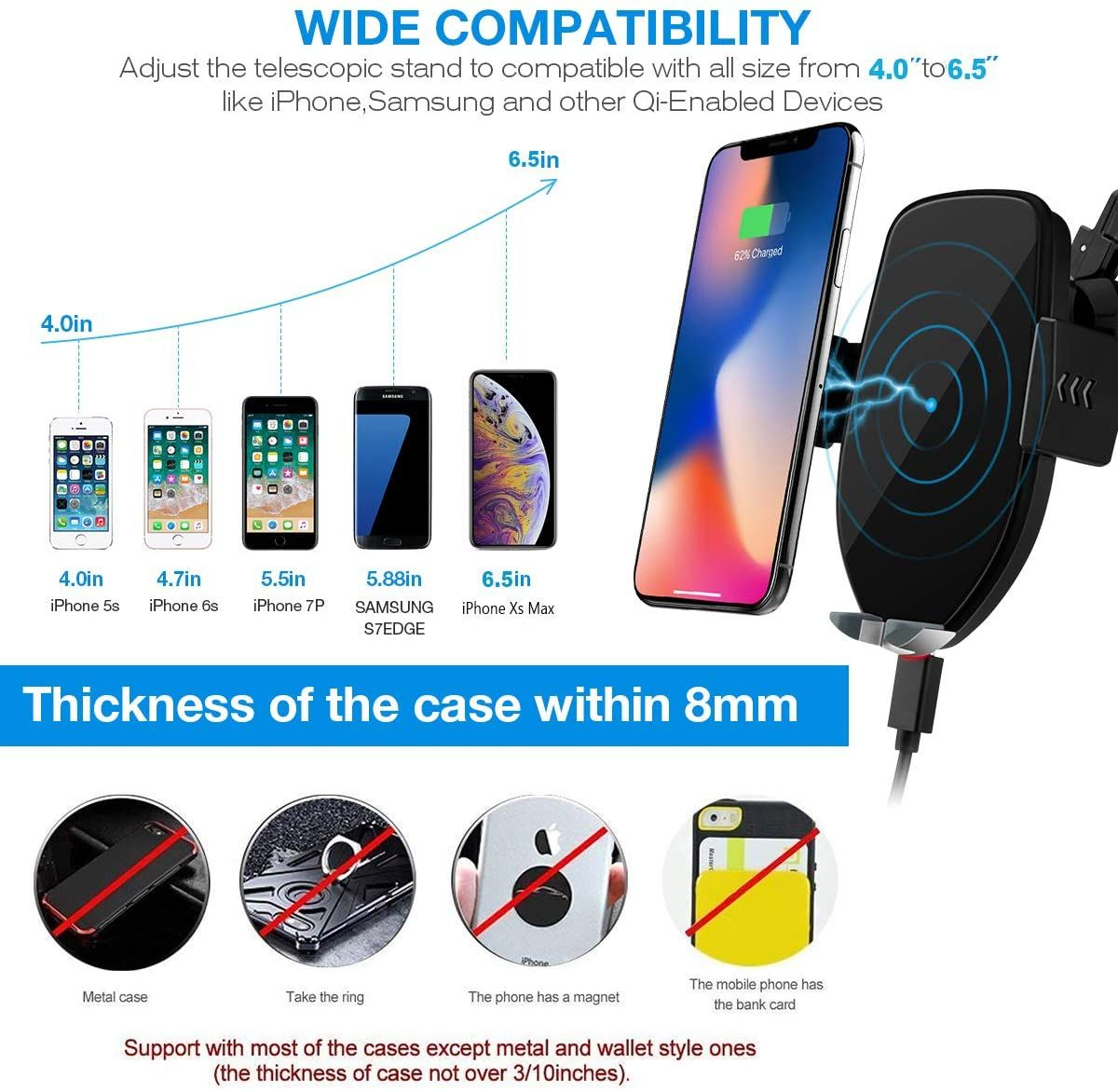 Wireless car charger mount in 2020 air vent phone holder