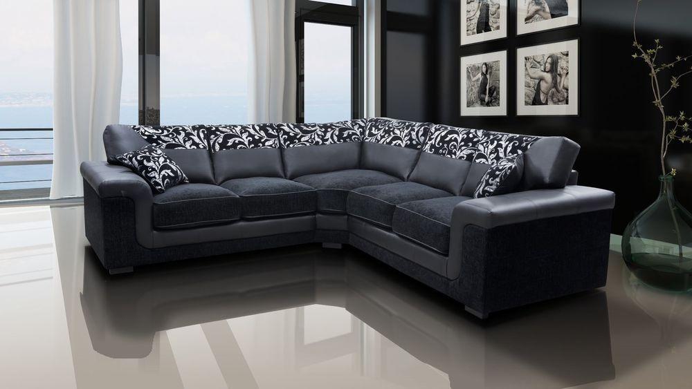 Leather Corner Sofa Grey Black Color Cushioned Seat Living Room Home Furniture Leather Corner Sofa Living Room Corner Furniture Corner Sofa