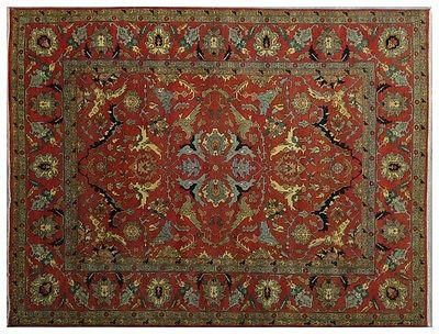 New 12x15 Area Rug Rust Red Serapi Floral Hand Knotted Lowest