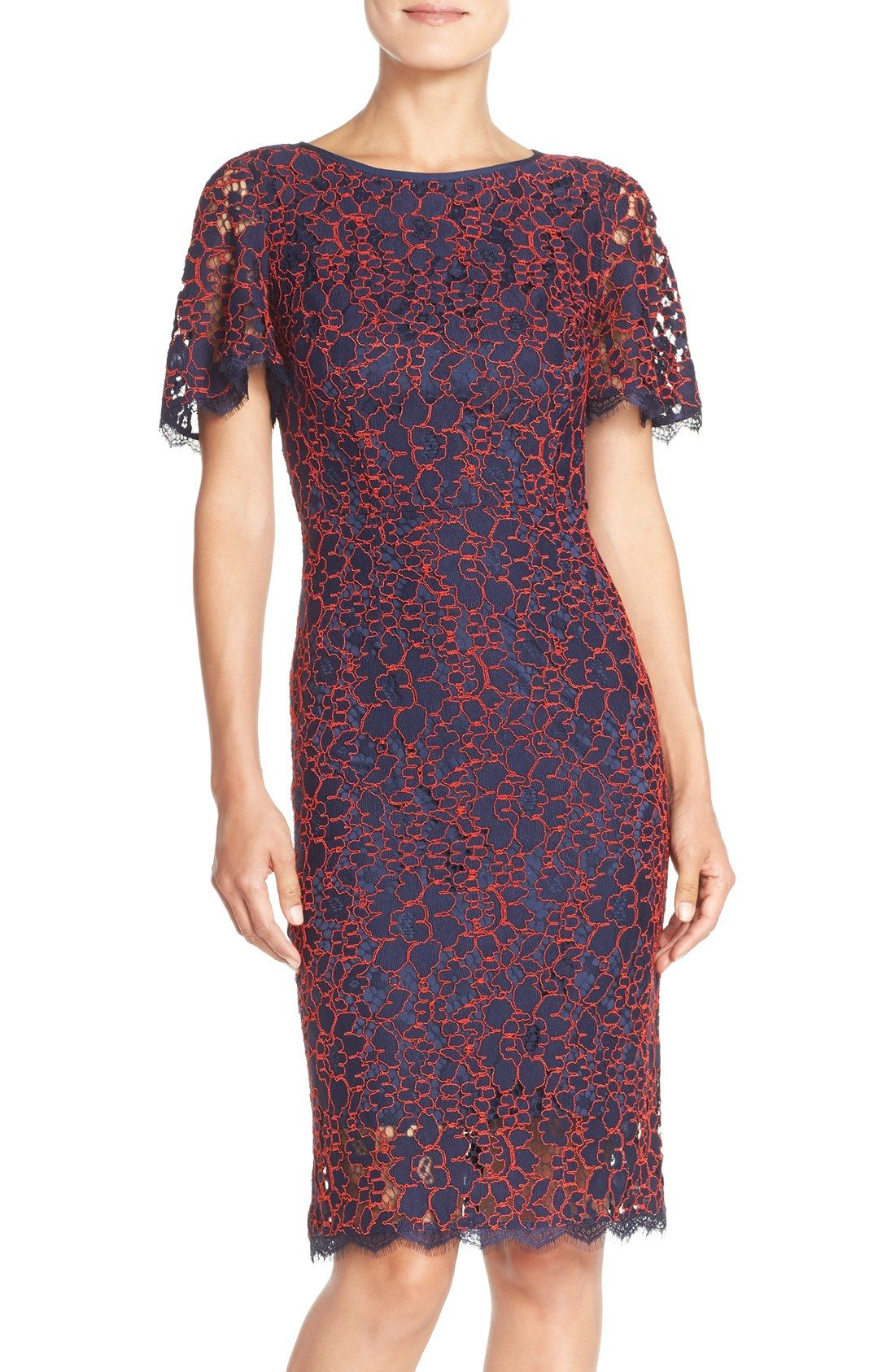 Adrianna Papell Flutter Sleeve Lace Sheath Dress | board ideas ...