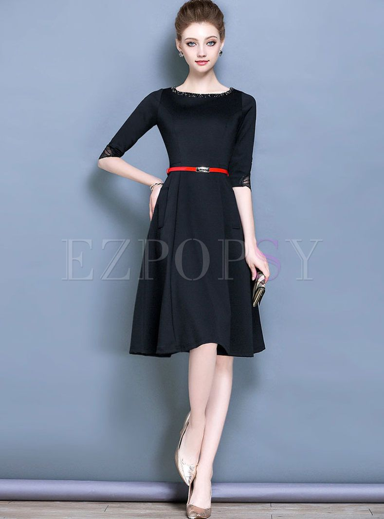 Vintage Black Belt Half Sleeve Skater Dress  0e40a89f0