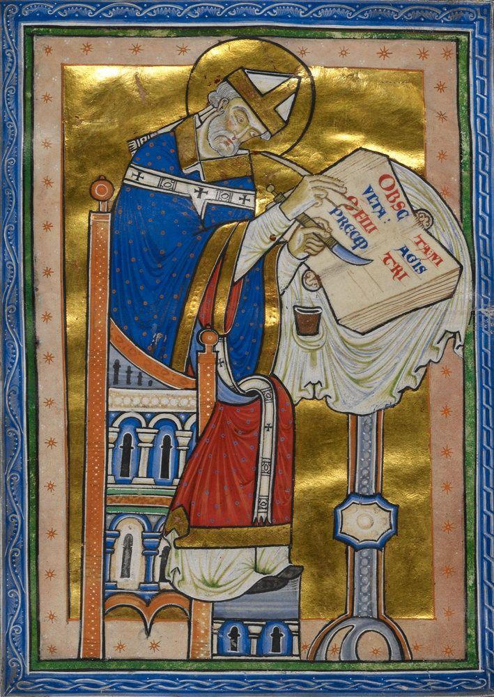 Saint Dunstan ~ Smaragdus of St Mihiel, Expositio in regulam S. Benedicti (Canterbury, Christ Church, c.1170–80).: