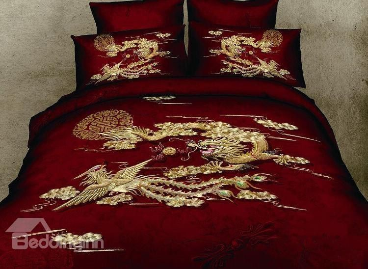 Chinoiserie Chinese Style Exquisite Dragon And Phoenix Print Red 4 Piece Bedding Sets Bedding Sets Gold Comforter Set Dragon Bedding