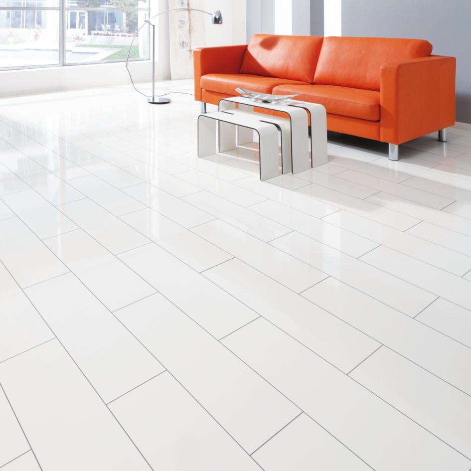 White Laminate Flooring Modern High Gloss Bathroom Ideas Image