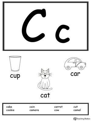letter c printable alphabet flash cards for preschoolers phonics language printable alphabet. Black Bedroom Furniture Sets. Home Design Ideas