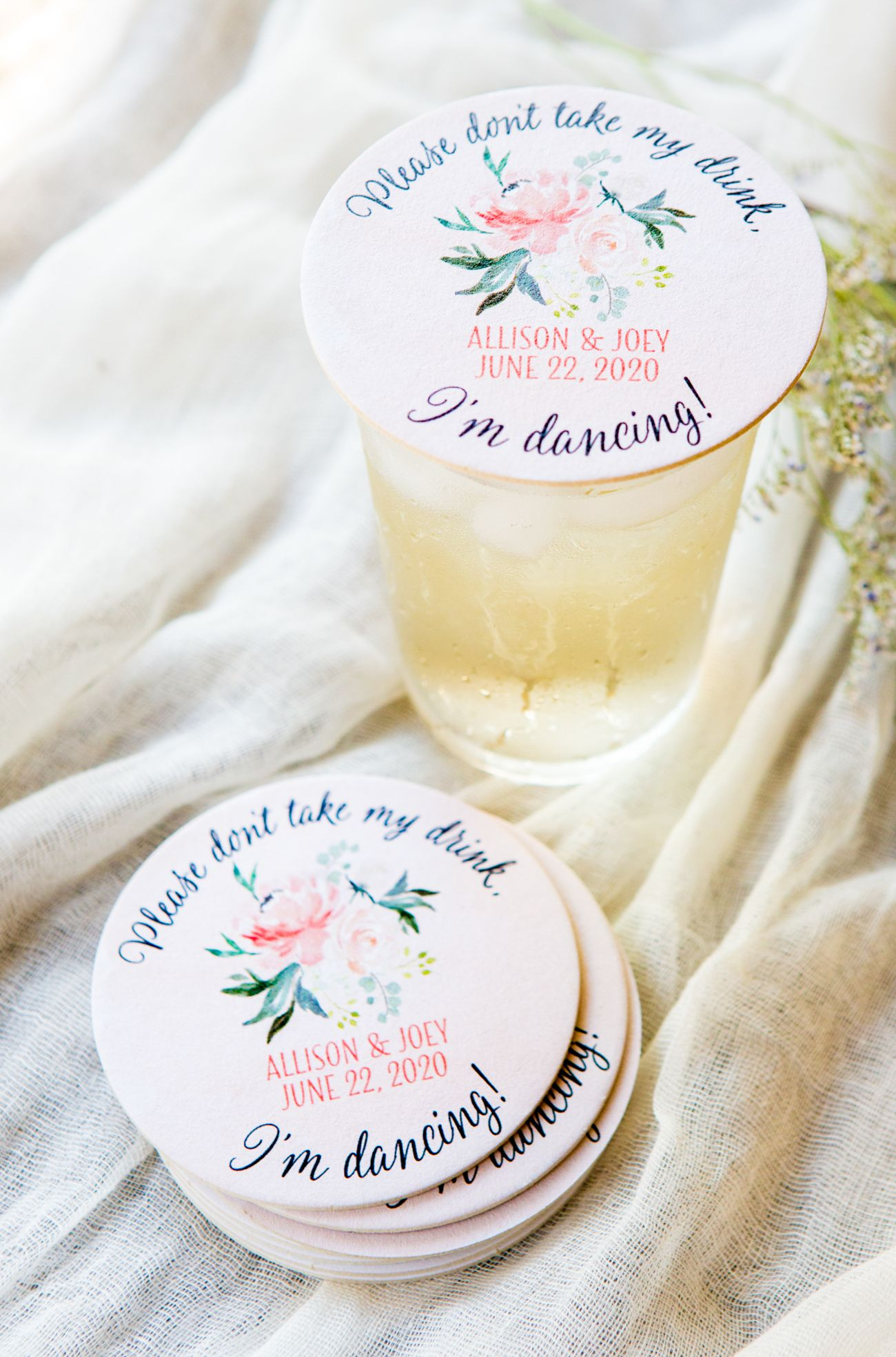 Don\'t Take My Drink Wedding Coasters, I\'m Dancing, Floral ...