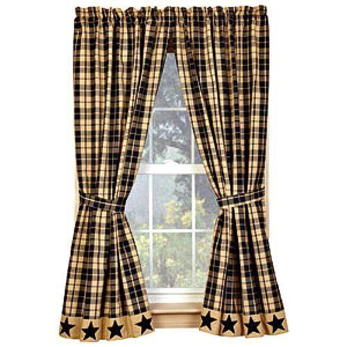 New Primitive Country Farmhouse Checked Tan BLACK STAR VALANCE Window Curtain