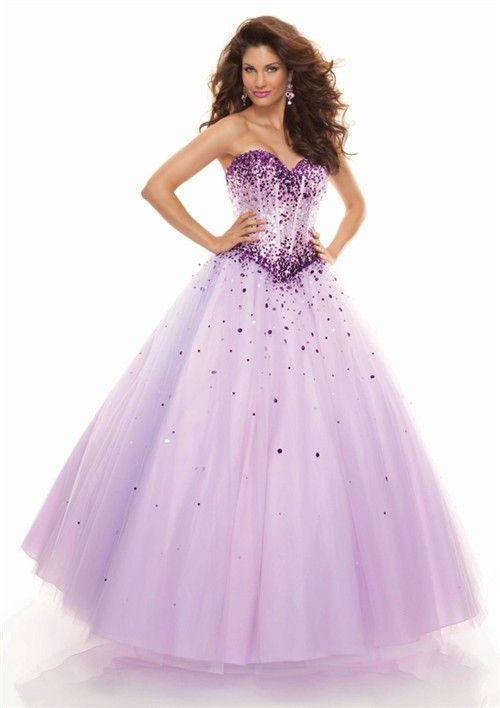 A line sweetheart floor length lilac prom dress with sequins | Prom ...