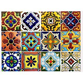 Snazzydecal Tile Stickers Mexican Mix Peel And Stick For Kitchen Or Bath Tr001 12 4x4 Inches Con Imagenes Baldosas Bano Pisos De Baldosas Azulejos
