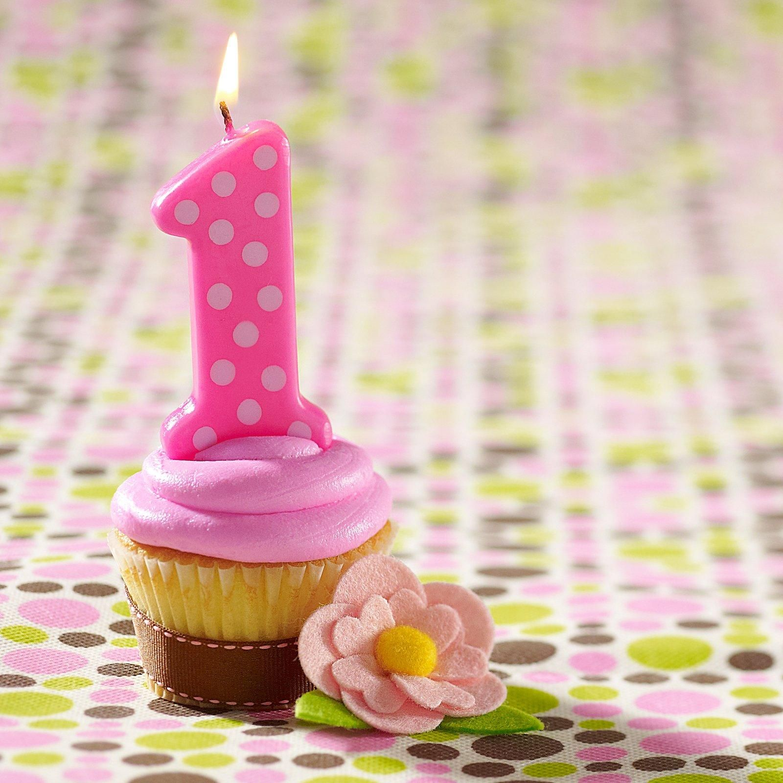 Pink 1st Birthday Polka Dot Candle
