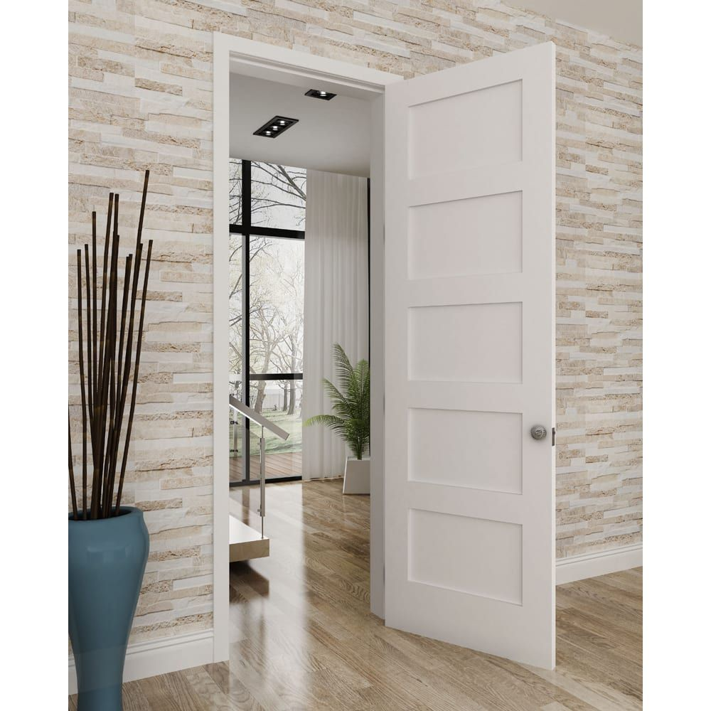 Frameport Fa 3347346w Primed Shaker 28 Inch By 80 Inch Flat 5 Panel Interior Slab Passage Door In 2020 Farmhouse Interior Doors Doors Interior Interior Door Styles