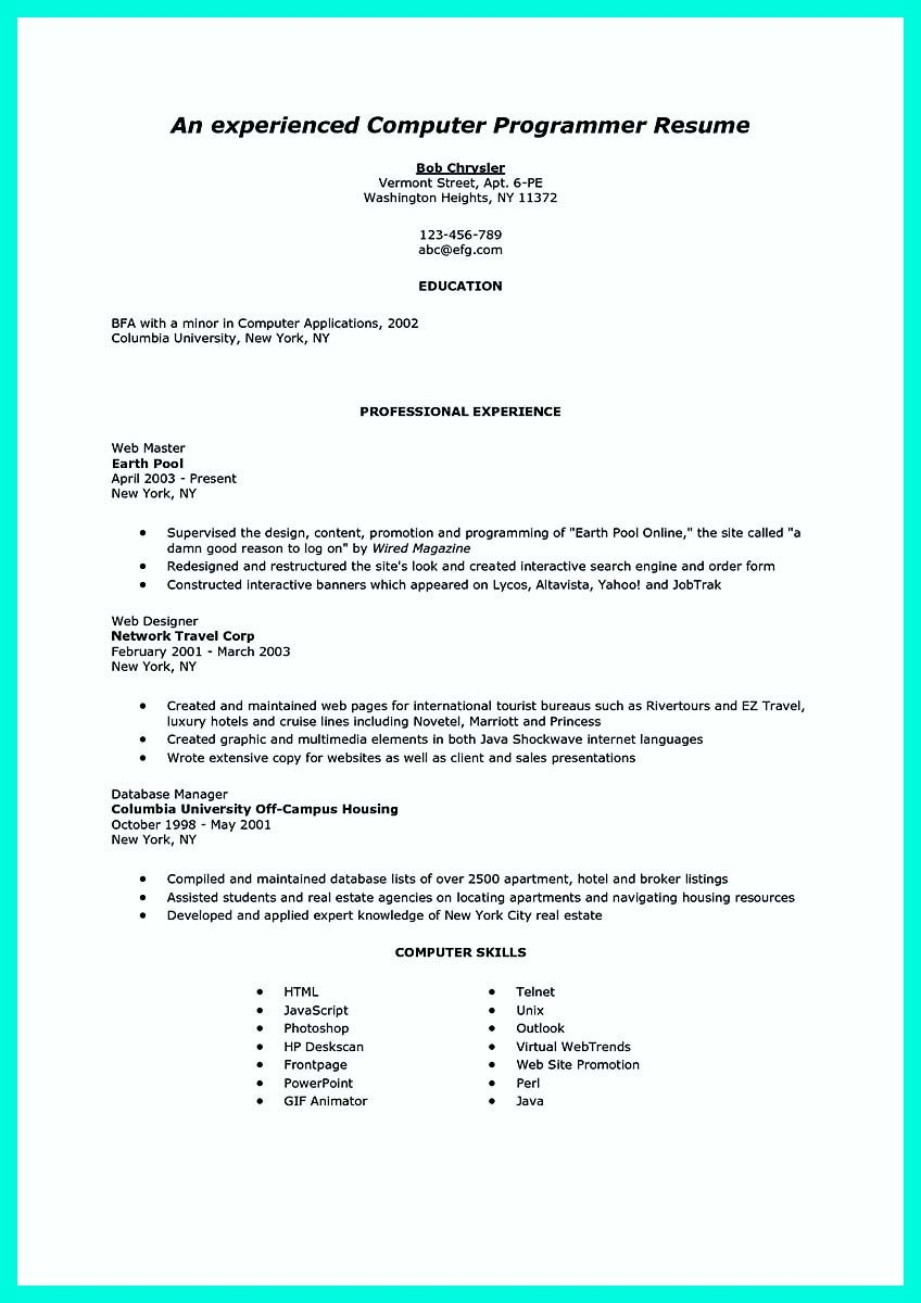 nice computer programmer resume examples to impress employers check