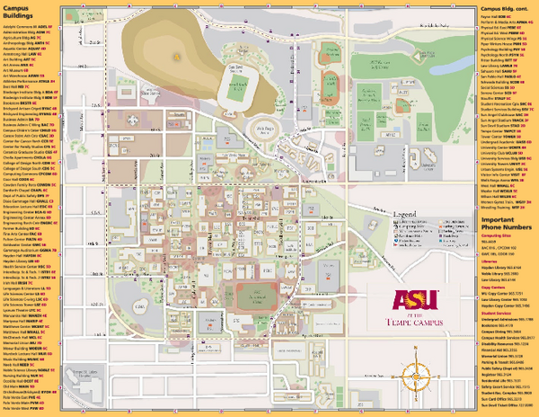 Map of Arizona State University Campus | Maps | Arizona state ...