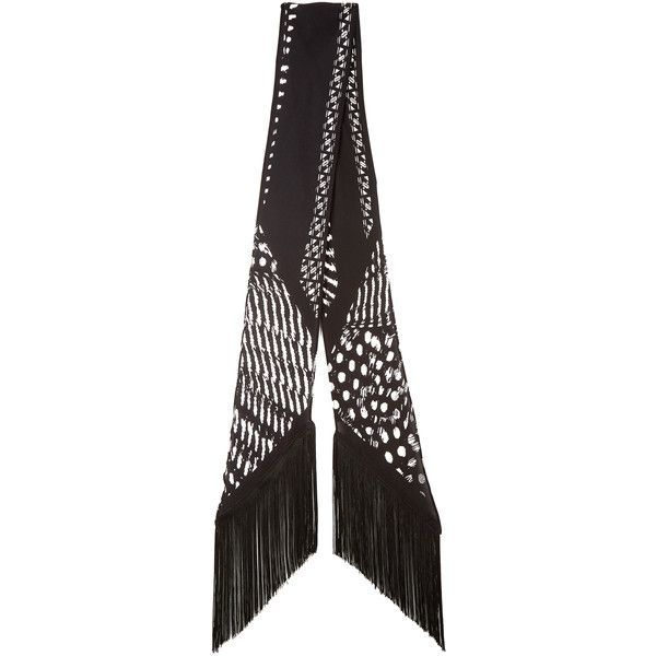 Rockins Guinea-print fringed classic-skinny scarf ($290) ❤ liked on Polyvore featuring accessories, scarves, vintage shawl, fringe shawl, patterned scarves, fringe scarves and vintage scarves
