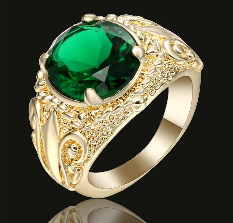 New fashion 18 k white gold filled Emerald wedding rings jewelry size7