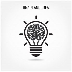Great Creative Brain And Light Bulb