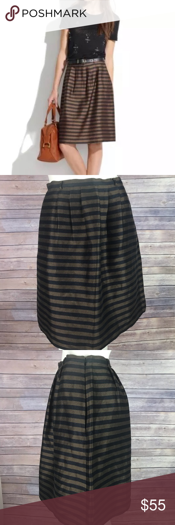 cb99c0dc83 Madewell Pleated Stripe Linen Silk Pockets Skirt Women's Madewell brown and  black striped pleated skirt with