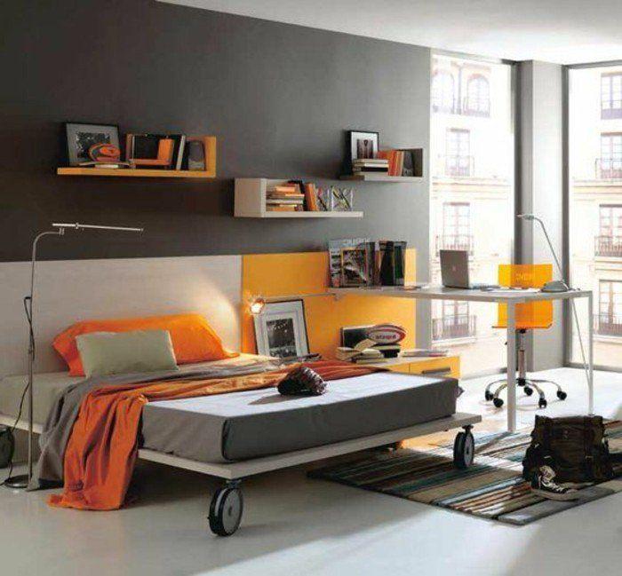 Chambre Du0027ado Garcon Gris Et Orange, Tapis Coloré Et Linge De Lit Gris Et  Orange