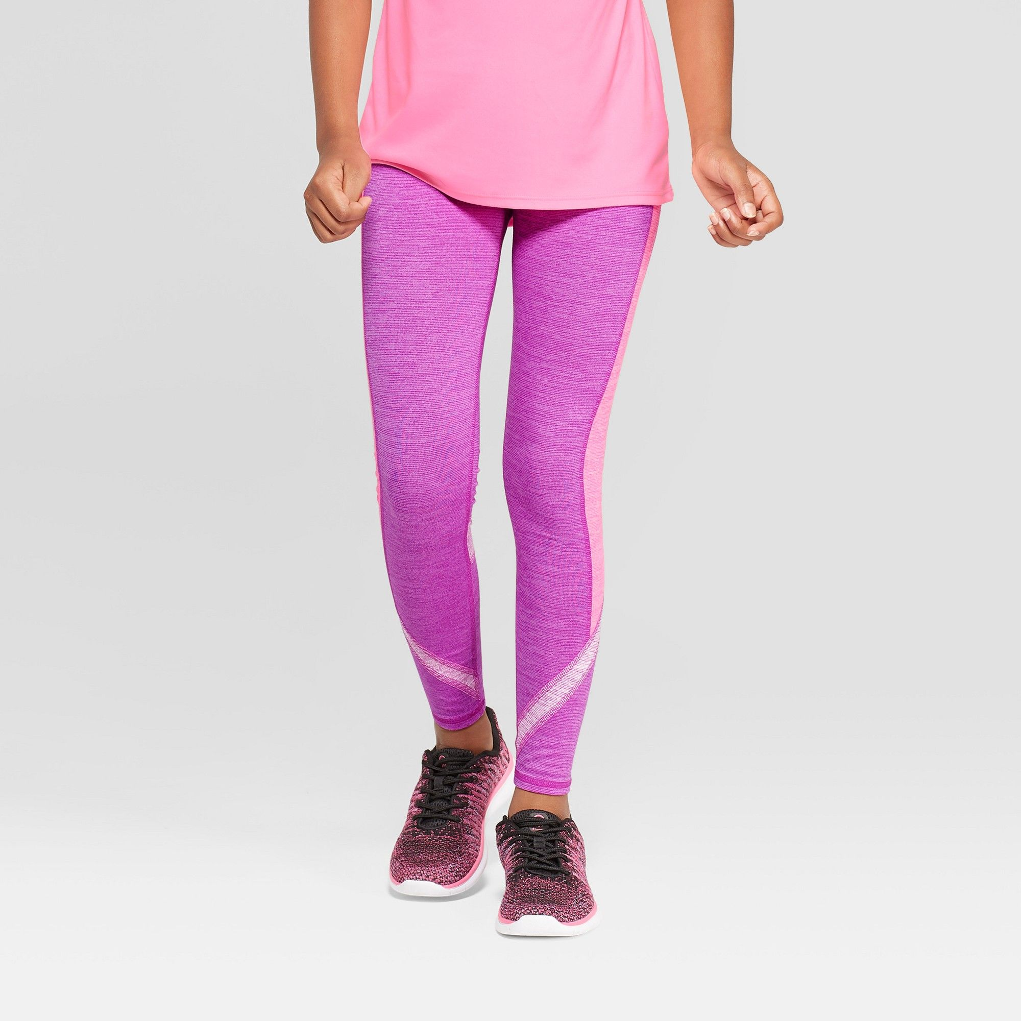 c22c482cbccc Girls  Tri Color Blocked Leggings - C9 Champion Purple L