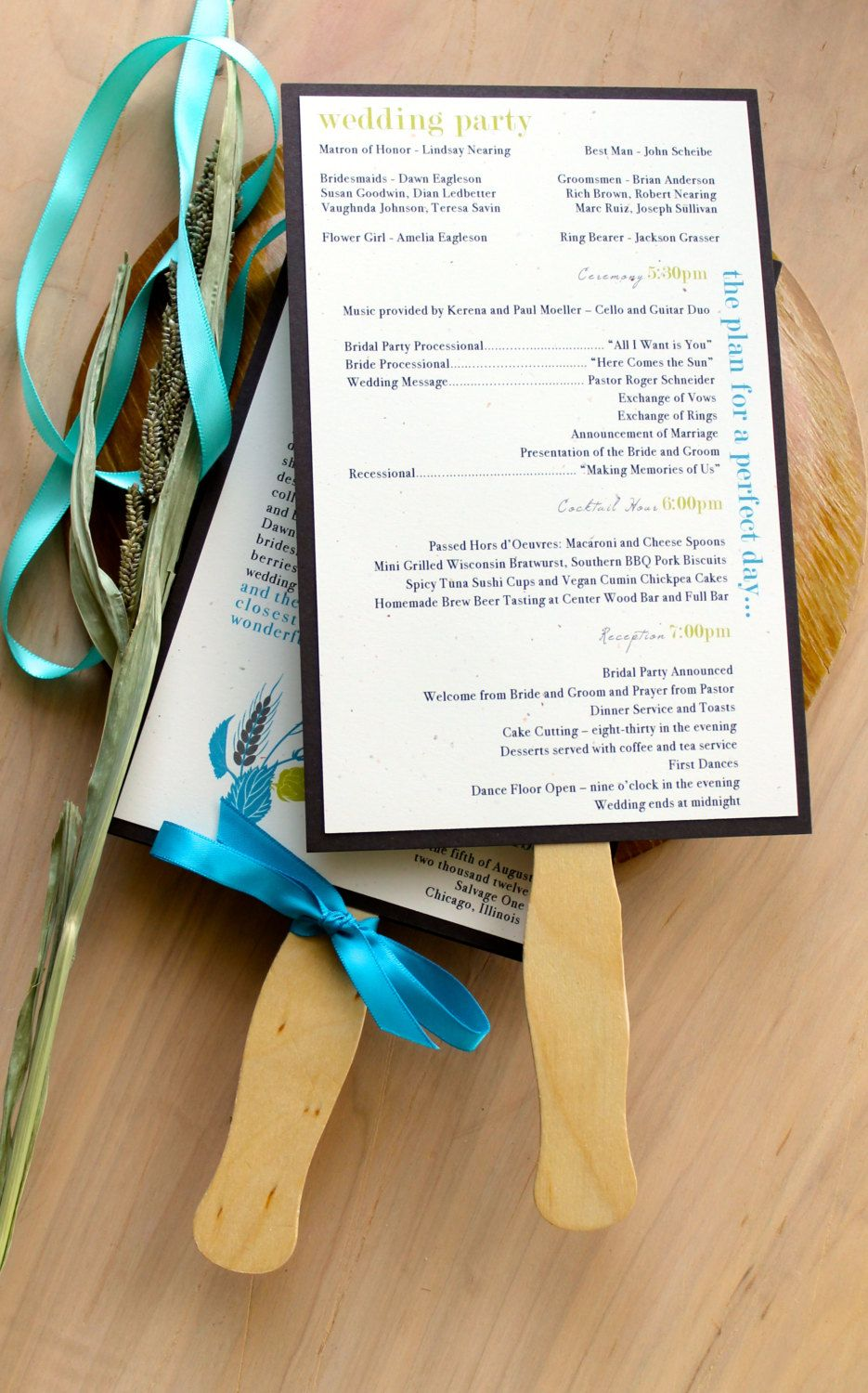Wedding Fan Programs Rustic Wedding Hops Beer Wedding Favors