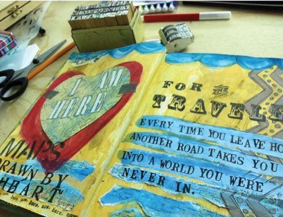 Going Somewhere? Make a Travel Journal! Ideas from Lisa Sonora Beam, who's featured in Paint Mojo, A Mixed Media Workshop: Creative Layering Techniques for Personal Expression. #mixedmedialove