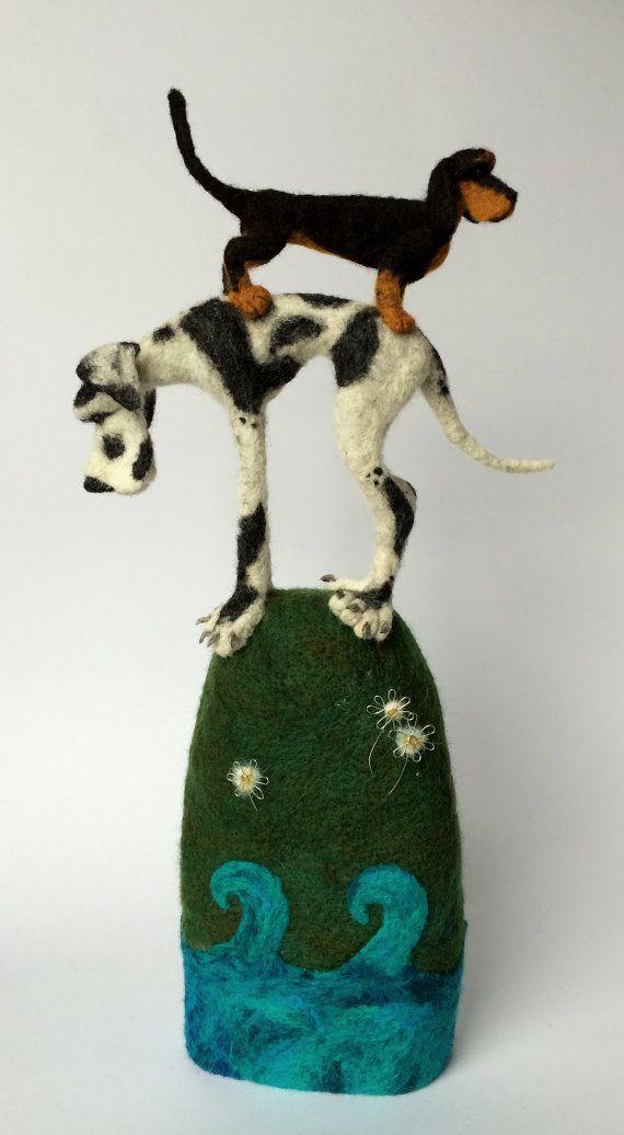 Felt dog sculpture Dshund GreatDane. by mikaelabartlettfelt