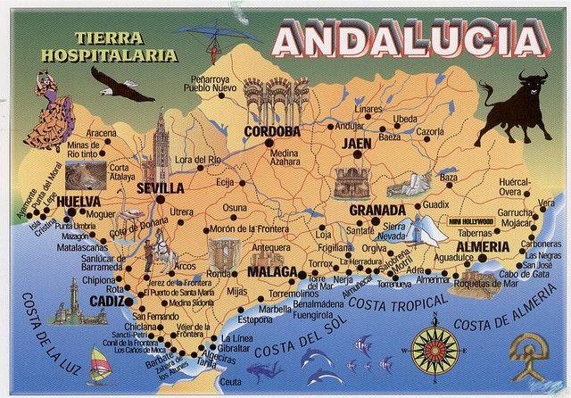 Espana Andalucia Map Andalucia Spain Andalusia Spain Spain
