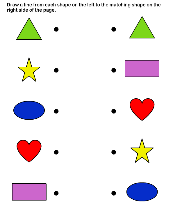 Shapes math Worksheets preschool Worksheets – Preschool Matching Worksheets
