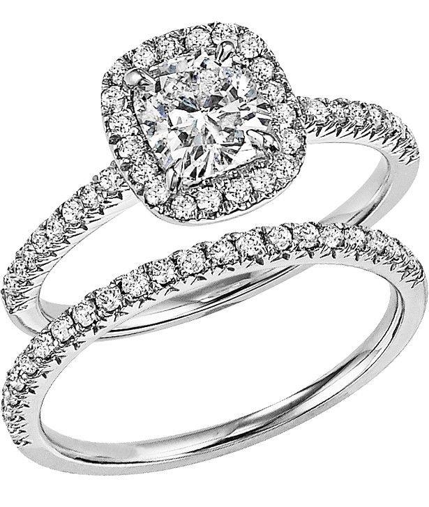 14k white gold diamond bridal set with a 100 cushion cut center