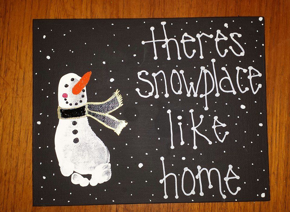 theres snowplace like home snowman footprint art christmas