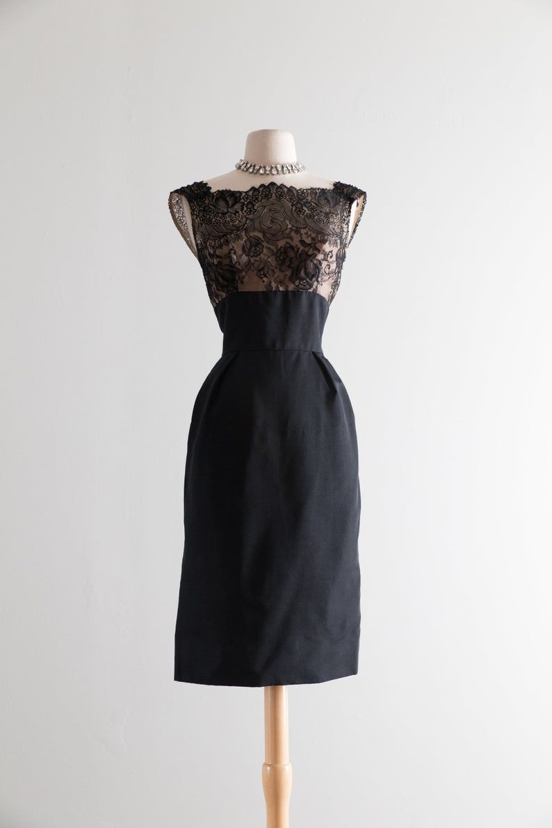 Illusion Lace Cocktail Dress By Nathan Strong Vintage 1950s Dresses Silk Cocktail Dress Vintage Dresses 1960s [ 1191 x 794 Pixel ]