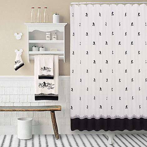 Vintage Black And White Mickey Mouse Shower Curtain Disney