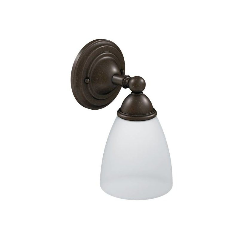 Photo of Moen YB2261ORB Oil Rubbed Bronze Single Light Bathroom Sconce with Frosted Shade from the Brantford Collection