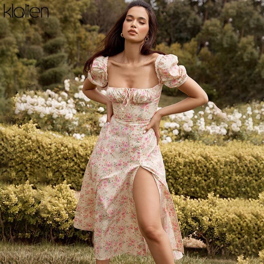 Photo of KLALIEN Summer Fashion Elegant Boho Print Slit Maxi Dress Women French Romantic Party Vacation Beach Casual Floral Dress Ladies – BEIGE / M