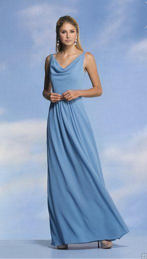 cc0f121c7d4 Casual Cowl Neck Long Blue Chiffon Bridesmaid Dress