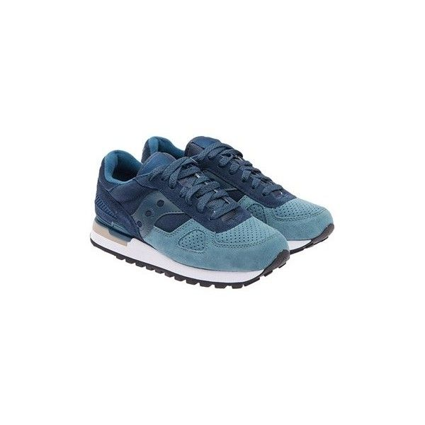 Saucony Shadow Original Sneakers featuring polyvore, women's fashion, shoes, sneakers, blue, leather footwear, blue sneakers, blue leather shoes, rubber sole shoes and saucony trainers