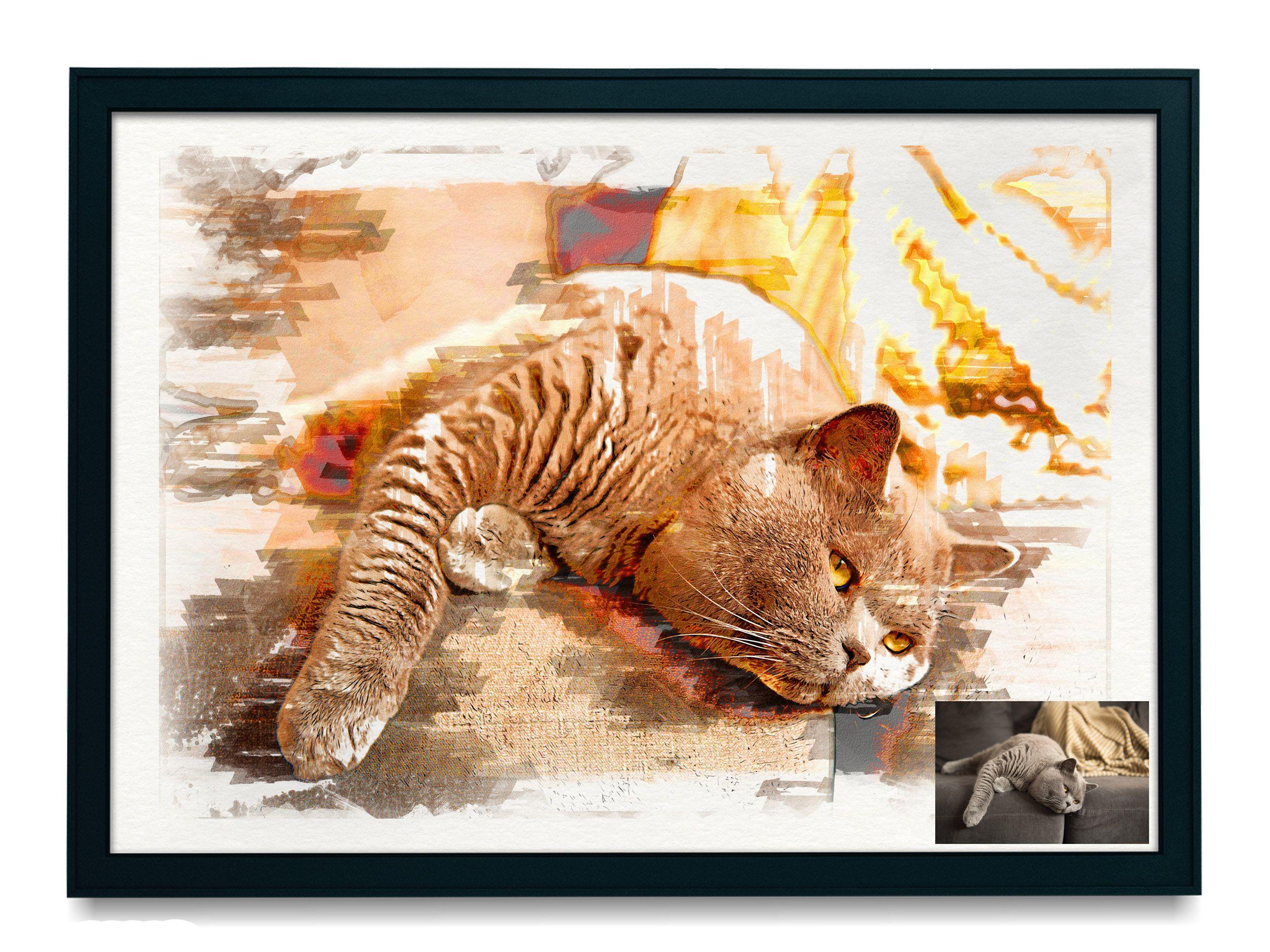 TIGER VINTAGE PRINT A4A3 FramedUnframed Antique Animal