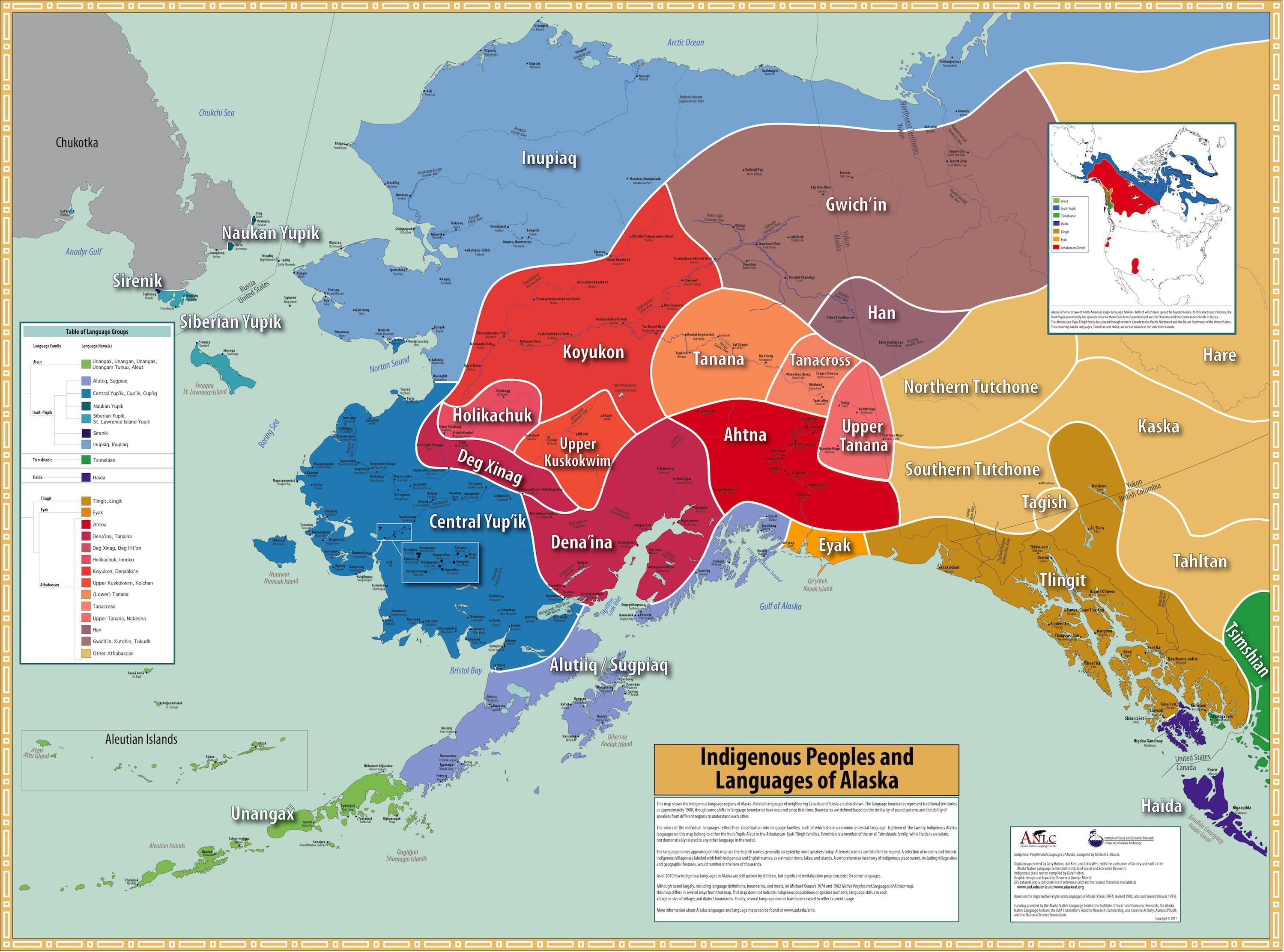 map of the indigenous language regions of alaska and closest parts of canada and russia