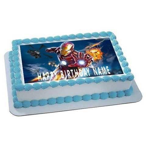 Iron Man Edible Birthday Cake Topper OR Cupcake Topper Decor