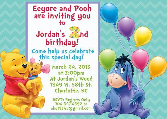 Custom Invitations Winnie the Pooh and Eeyore too Birthday Party – Eeyore Birthday Cards