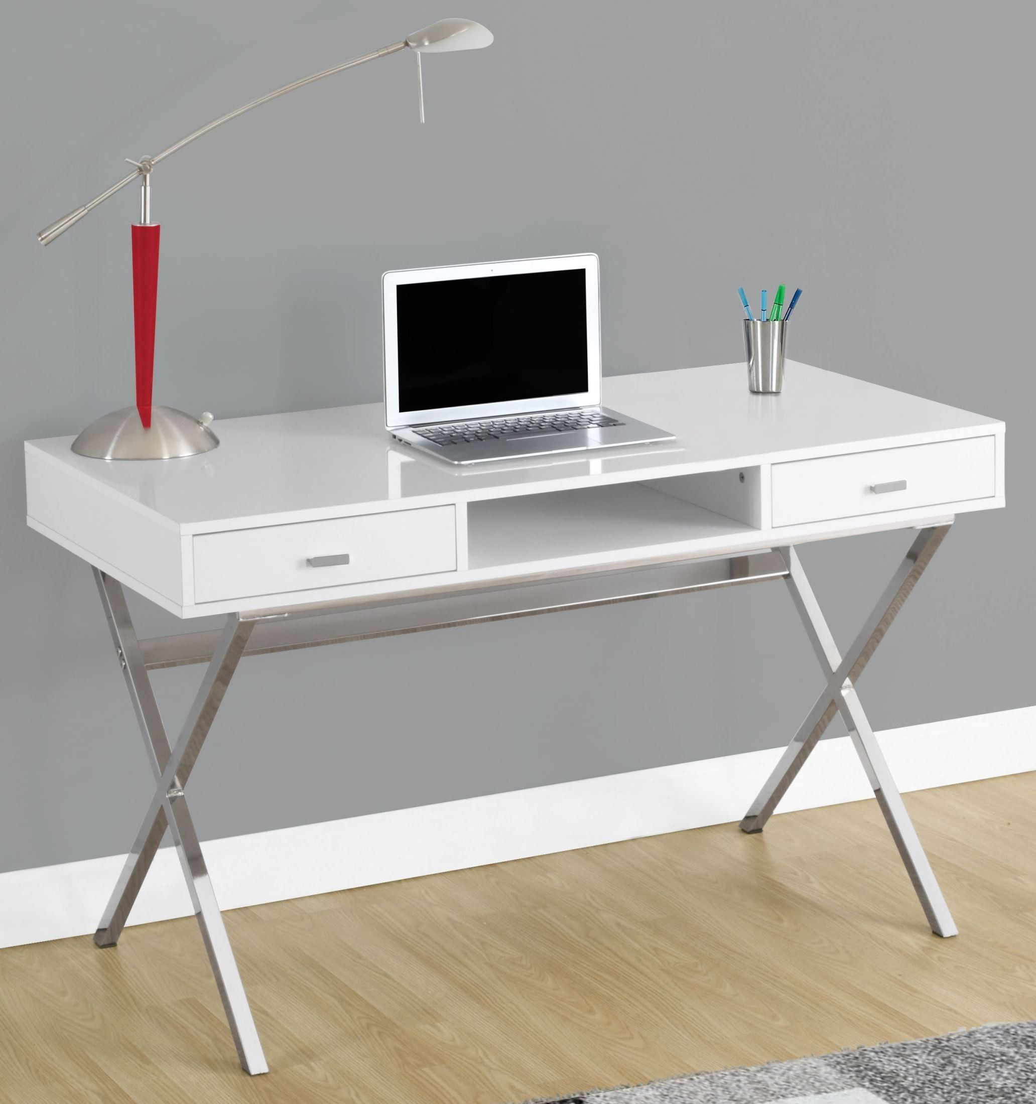 Glossy White 48 Storage Computer Desk Diy Computer Desk Home Office Desks Computer Desk