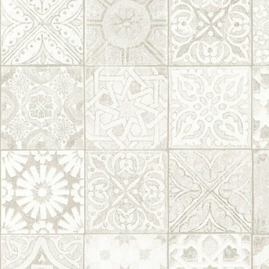 Photo of Moroccan/Croatian Style Tile  Effect Wallpaper   Grey, Beige, Cream & White – Sample Piece