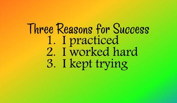Three Reasons For Success - Vinyl Wall Art - Classroom Decor ...