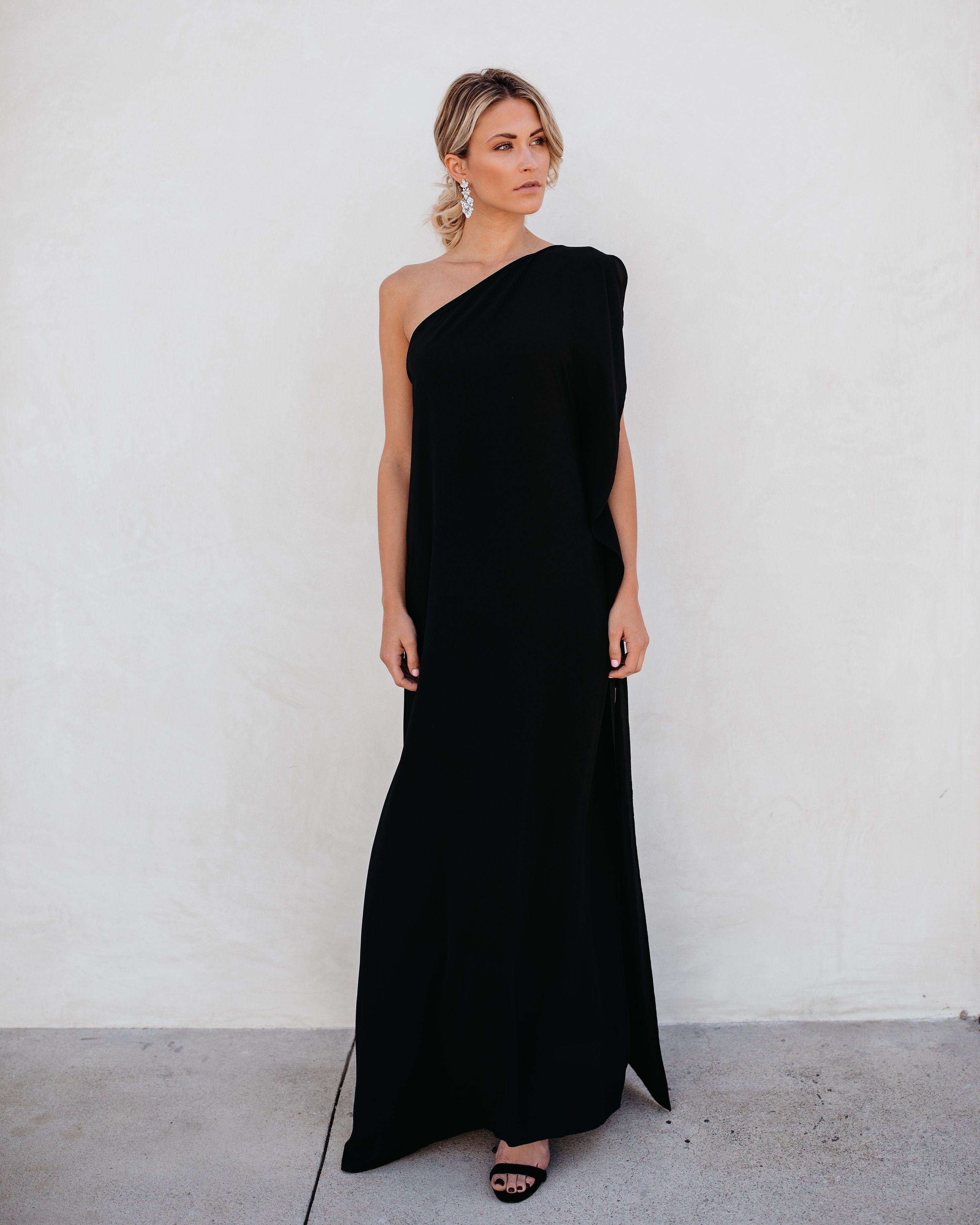 22ea9d8e1cc Blown Away One Shoulder Statement Maxi Dress - Black