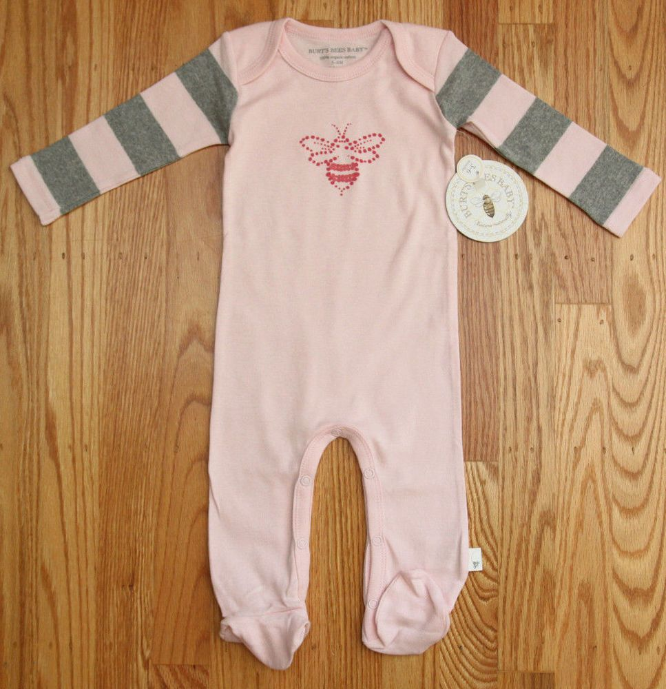 93f2d278d Burt s Bees Baby Girl Footed Coverall ~ Pink   Gray ~ 100% Organic ...