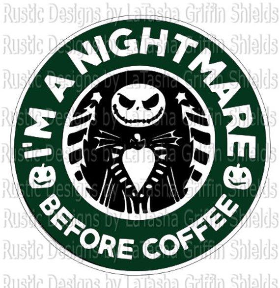 Nightmare Before Coffee Starbucks Logo Svg Dxf Digital File Jack Skeleton Halloween Starbucks Logo Nightmare Before Disney Starbucks