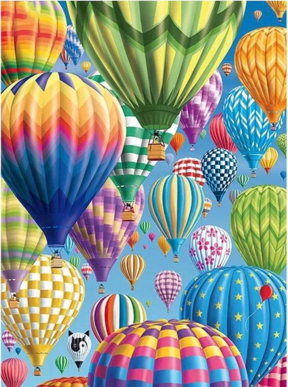 Us Seller 50x40cm Bright Colorful Hot Air Balloons Diamond Painting Kit Full Drill Square Dril Hot Air Balloons Art Balloon Painting Hot Air Balloon Drawing